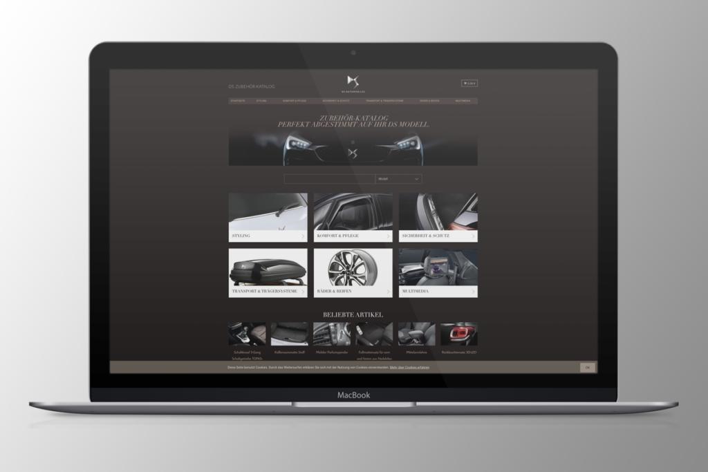 DS Automobiles Teile- und Zubehörkatalog, anyMOTION Digital Lead Agentur Düsseldorf und Köln, Edler Look, UX-Design optimiert