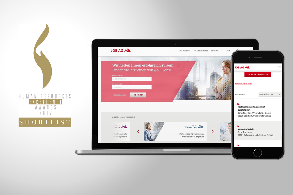 anyMOTION JOB AG Relaunch Neue Webpräsenz des ausgezeichneten Personaldienstleisters Nominiert für die HR Excellence Awards