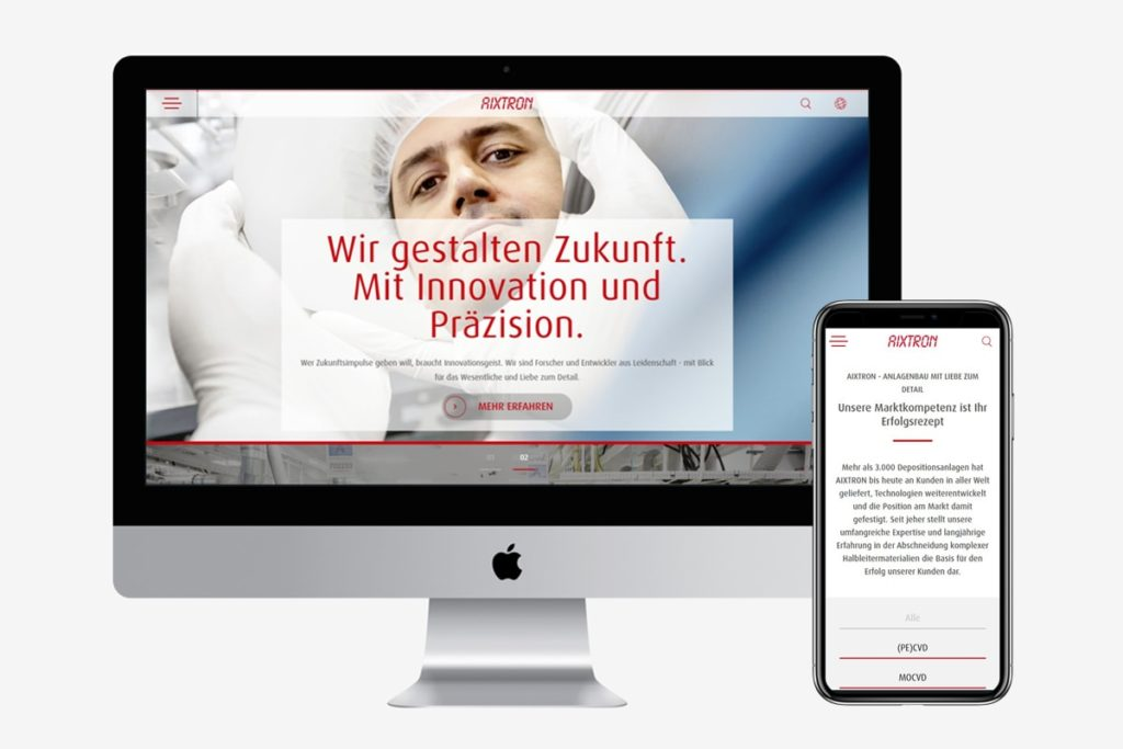 AIXTRON Relaunch - anyMOTION Digitalagentur Düsseldorf - Pimcore - Goldpartner - Halbleitertechnik