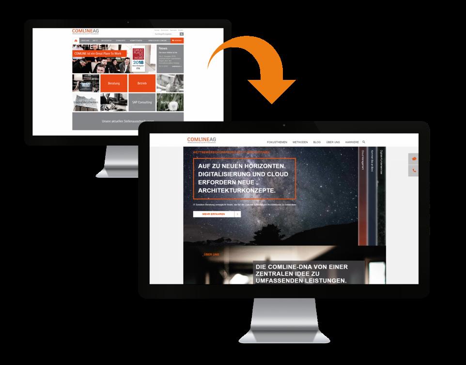 Darstellung der neuen Comline Webseite